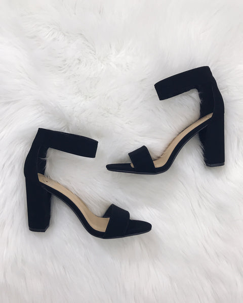 Haley - Black Chunky Ankle Strap Heel Sandals
