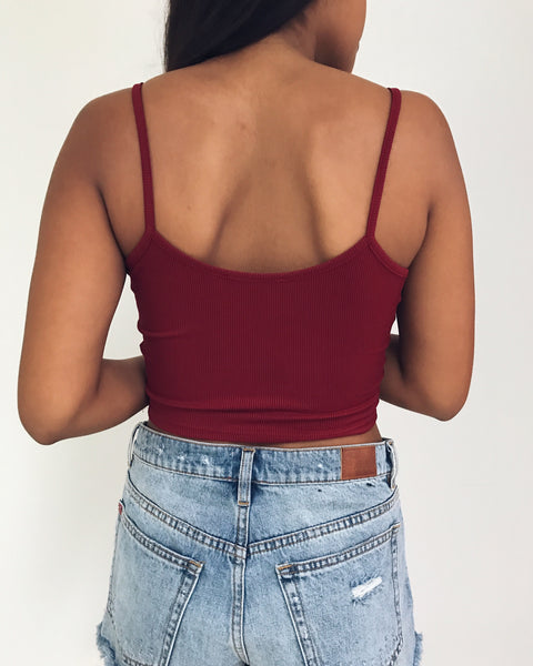 Skylar - Burgundy Ribbed Crop Tank Top