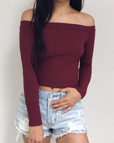Holly - Maroon Off the Shoulder Top