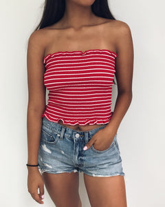Shirley - Red + White Striped Smocked Tube Top