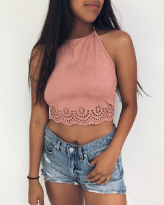 Sachi - Light Mauve Vegan Suede Halter Top