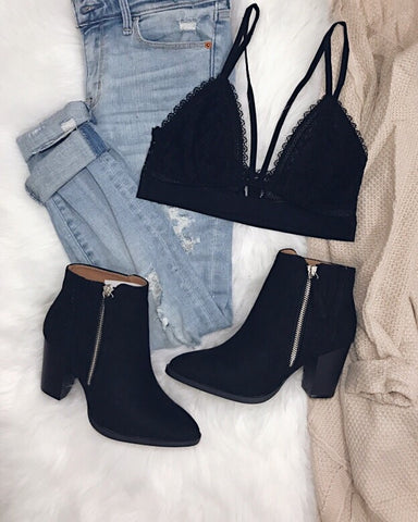 Larissa - Black Ankle Booties