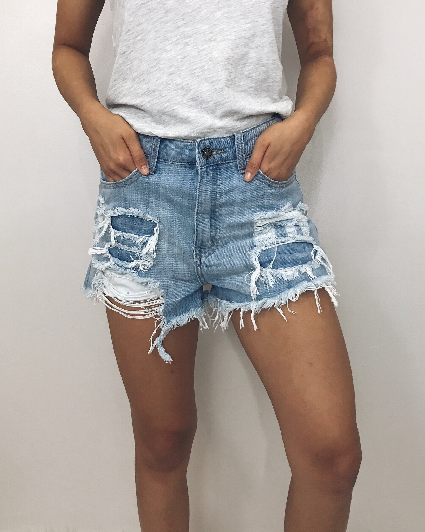 Victoria - Tomgirl Distressed Denim Shorts