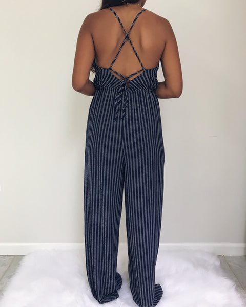 Davina - Navy Blue Striped Jumpsuit