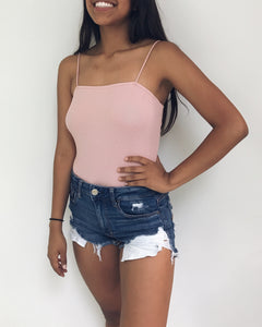 Ana - Blush Pink Straight Neck Bodysuit
