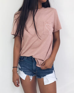Mauve Embroidered Heart Graphic Tee