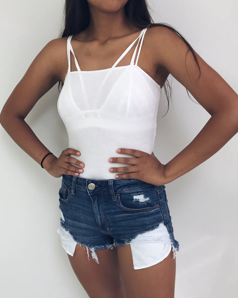 Ana - White Straight Neck Bodysuit