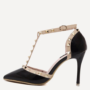 Black Pointed Toe T-shaped Stiletto Heels