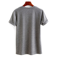 Casual Women's  Grey Letter Print Tee Shirt