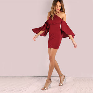 Asymmetrical Bell Sleeve Dress