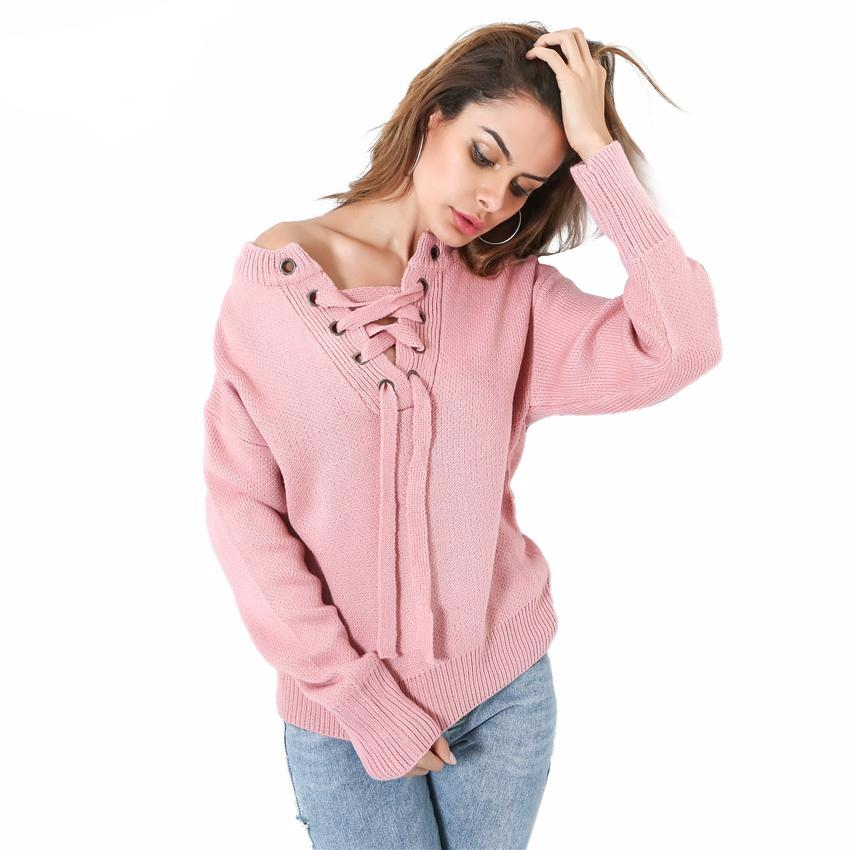 Front Lace Up Jumper