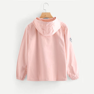 Pink Zip Up Hooded Patch Jacket