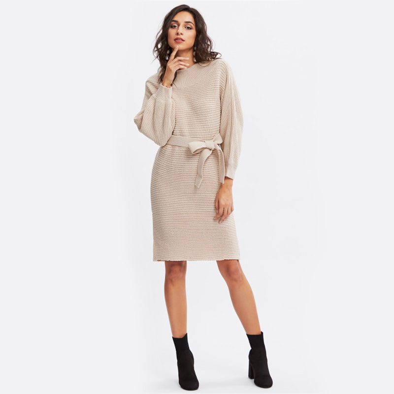 Batwing Sleeve Self Tie Knit Winter Dress