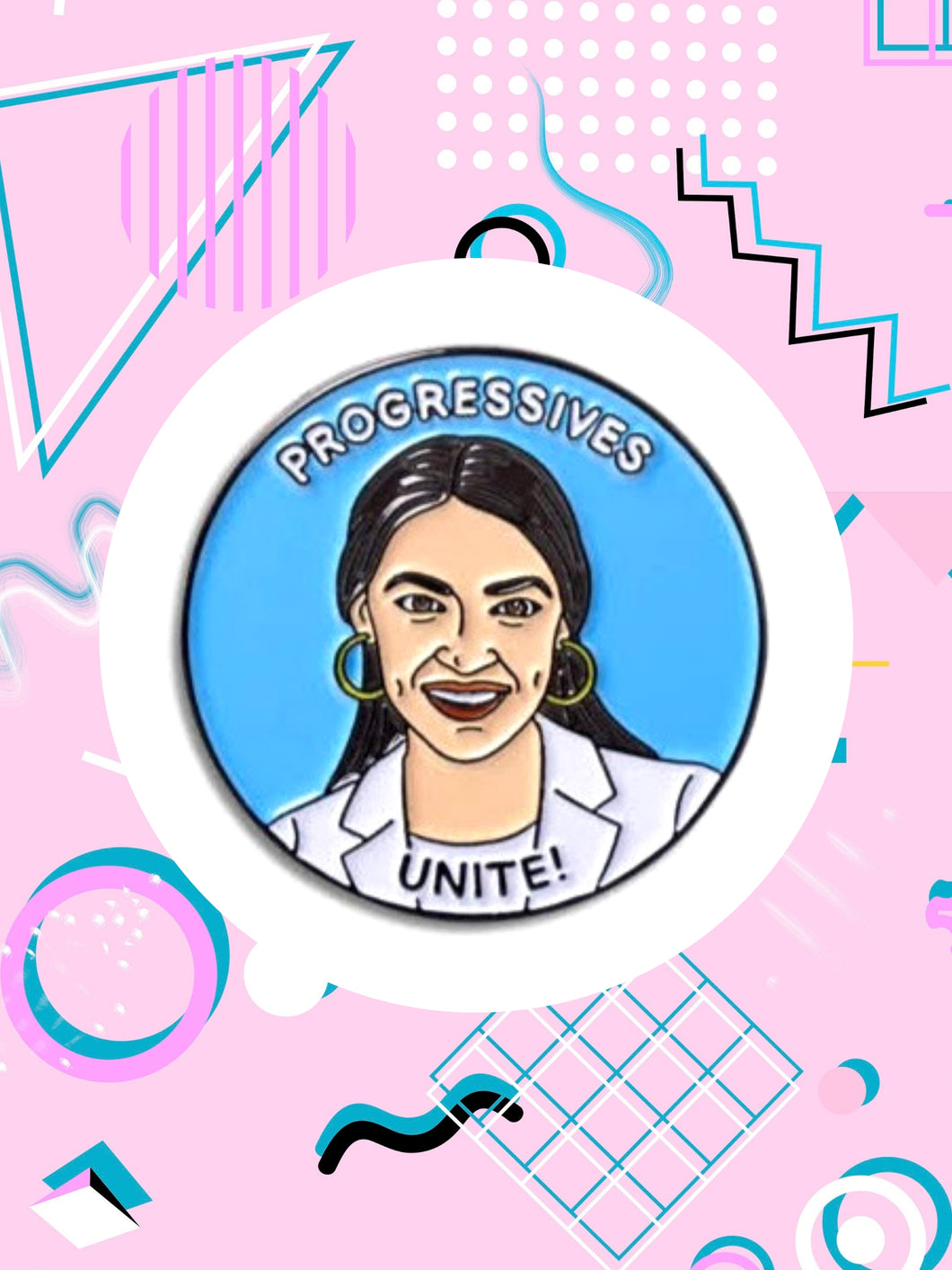 Animated version of Senator, Alexandria Ocasio-Cortez etched on an enamel pin that reads, progressives unite.
