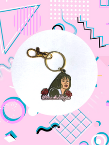 keychain featuring Selena Quintanilla with gold keyring and lobster clasp