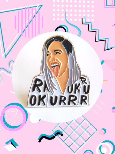 Enamel pin featuring animation of Cardi b that says, OKURRR.