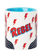 12 ounce coffee mug featuring animation of David Bowie that says, rebel with lightening bolts.
