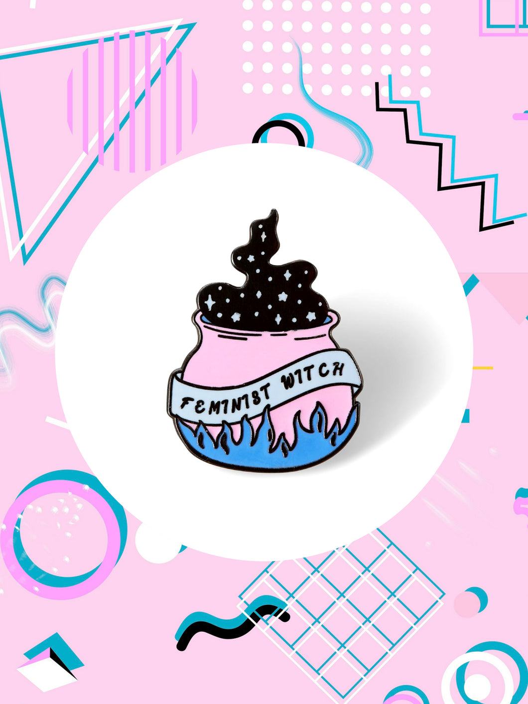 enamel pin shaped like a cauldron that says, feminist witch