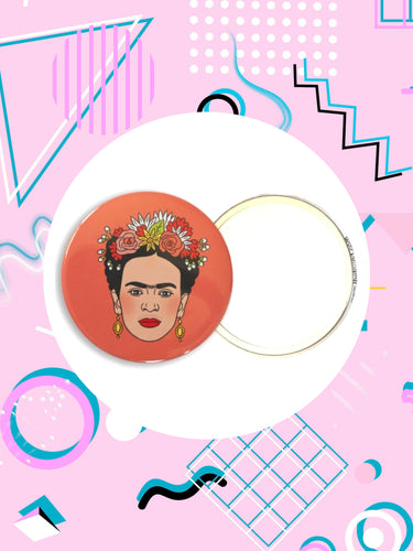 pocket mirror featuring image of Friday Kahlo