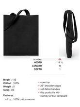 plain back side of black canvas tote