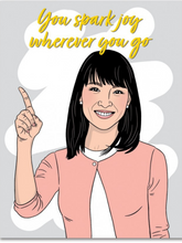 greeting card featuring an image of Marie Kondo that says, You Spark Joy