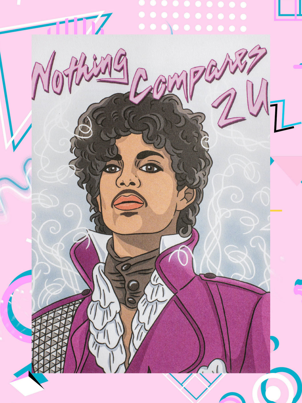 blank greeting card featuring drawing of the artist formerly known as Prince that says on the outside, Nothing Compares 2 U