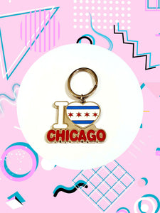 keychain that says I heart chicago. the heart features a Chicago flag