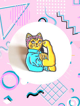 Rosie The Riveter Cat Pin