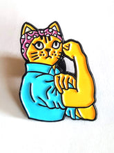 Rosie The Riveter Cat Pin Feminist Speakeasy