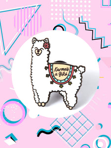 enamel pin shaped like a llama that says, karma's a bitch