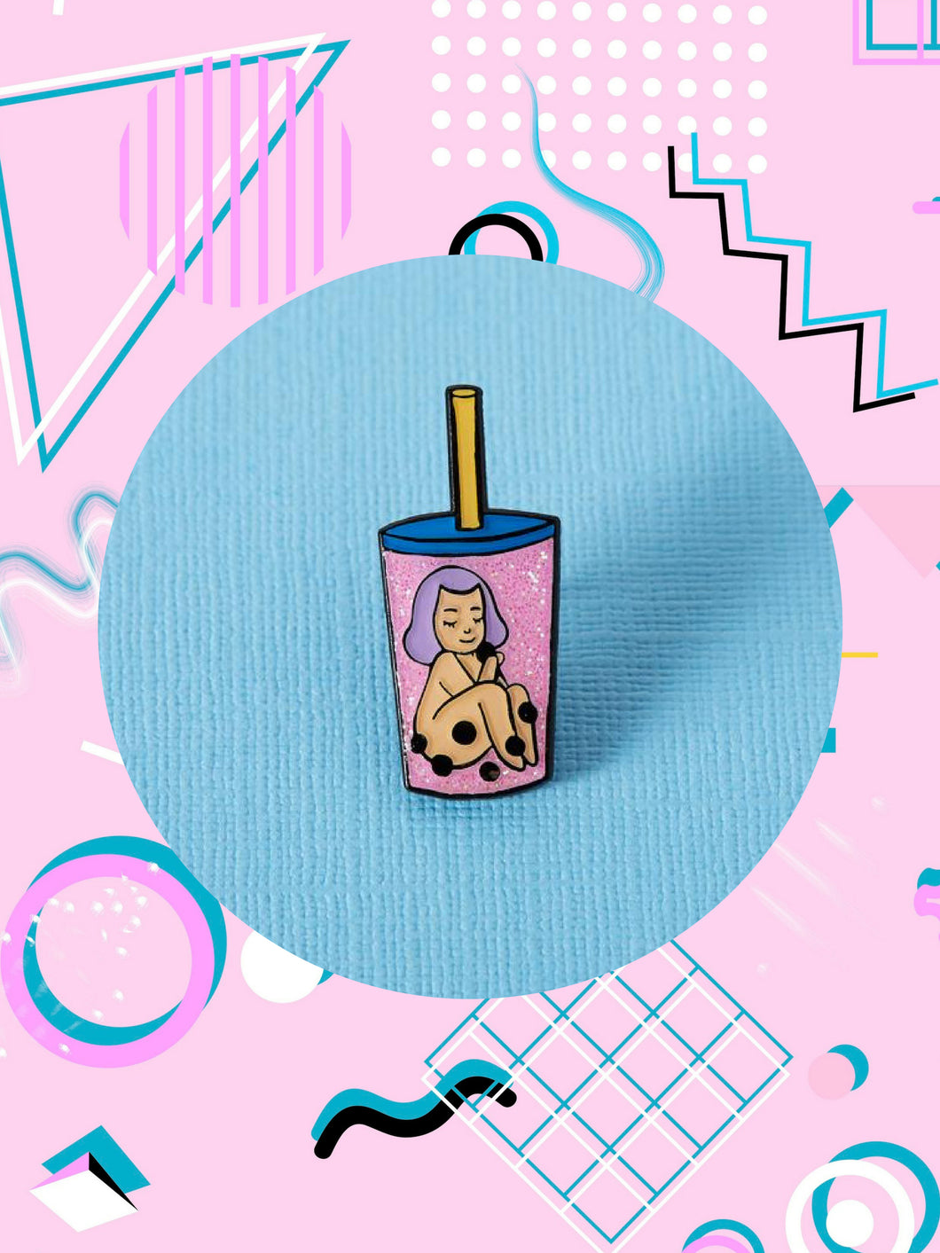 Mel Stringer Bubble Tea Babe Enamel Pin
