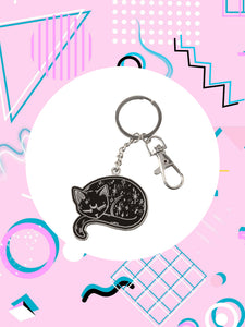 keychain shaped like a black cat with a lobster clasp