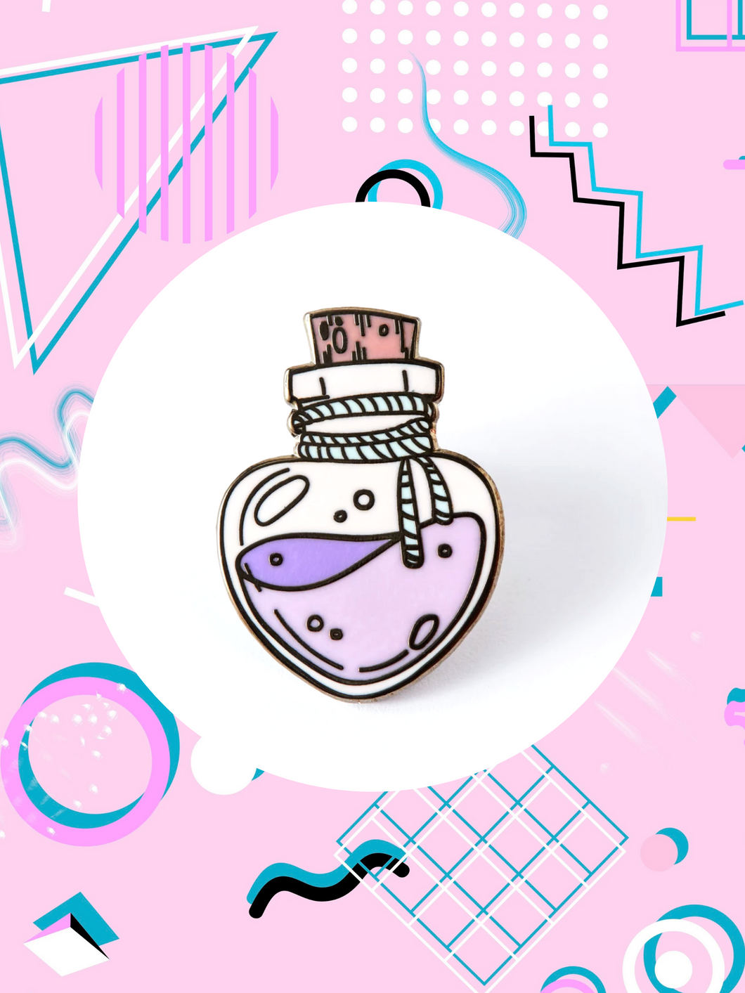 enamel pin shaped like a clear bottle with purple love potion tied with a rope and bottle cork