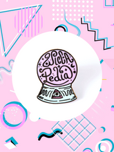 crystal ball enamel pin with evil that says, Wiccapedia