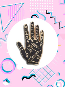 witchy palm reading enamel pin