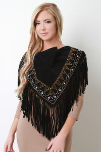 Embroidered Fringe Suede Triangle Scarf - visitors