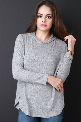 Hoodie Marled Knit Top - visitors