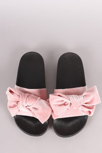 Qupid Velvet Bow Slide Sandal - visitors