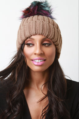 Colored Faux Fur Pompom Cuff Beanie - visitors