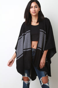 Color Block Open Front Poncho Cardigan - visitors