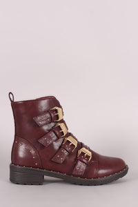 Studded Buckle Strap Lug Sole Moto Booties - visitors