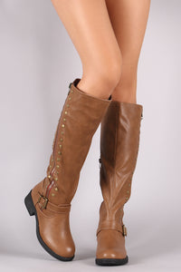 Studs And Zipper Trim Riding Knee High Boots - visitors