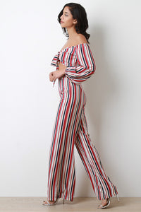 Striped Off-The-Shoulder Crop Top with Palazzo Pants - visitors