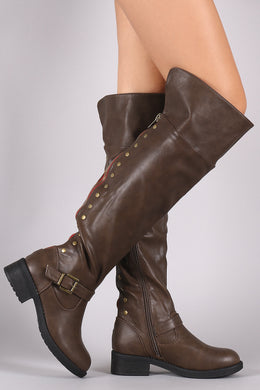 Back Studs And Zipper Trim Riding Boots - visitors