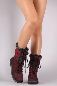 Quilted Nylon Faux Fur Cuff Lace Up Mid Calf Snow Boots - visitors