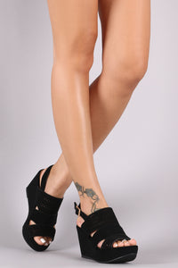 Perforated Nubuck Slingback Platform Wedge - visitors