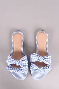 Liliana Gingham Bow Accent Double Band Slide Flat Sandal - visitors