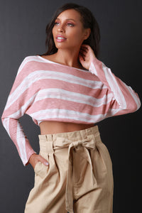 Crop Striped Dolman Sleeve Top - visitors
