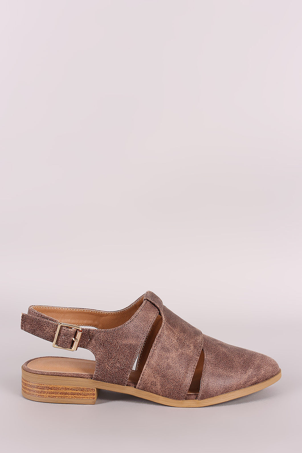 Qupid Slit Mule Block Heel Flat - visitors