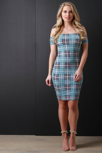 Woven Plaid Print Bardot Bodycon Dress - visitors